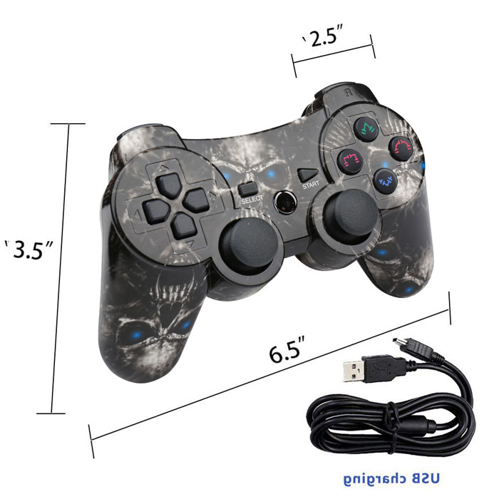 Wireless PS3 Game Controller(Black Skull)